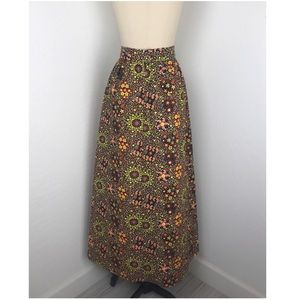 Vintage Orange & Black Quilted Paisley Maxi Skirt